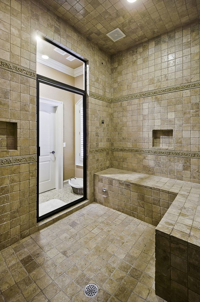 How to Clean Shower Grout for a Traditional Bathroom with a Private Hammam and Spa Shower with Steam Bath by Celtic Custom Homes