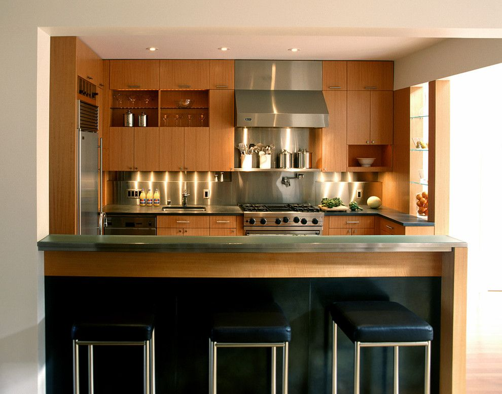 How to Clean Stainless Steel Refrigerator for a Contemporary Kitchen with a Breakfast Bar and Cary Bernstein Architect Eureka Valley Residence by Cary Bernstein Architect
