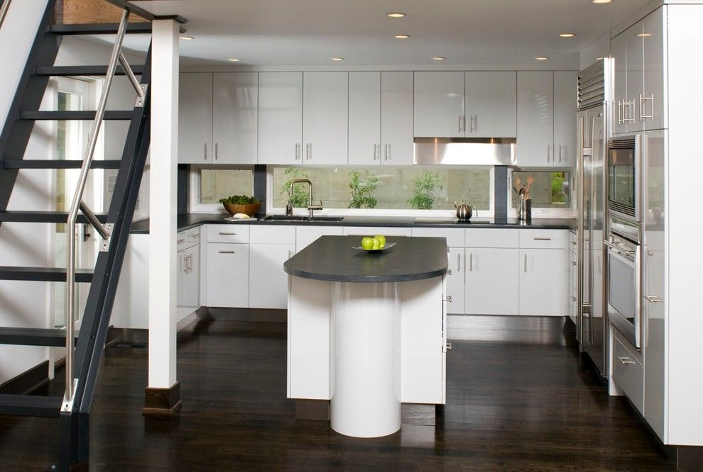 How to Clean Stainless Steel Refrigerator for a Contemporary Kitchen with a Glass and University Area by Hinge Cabinetry & Furniture