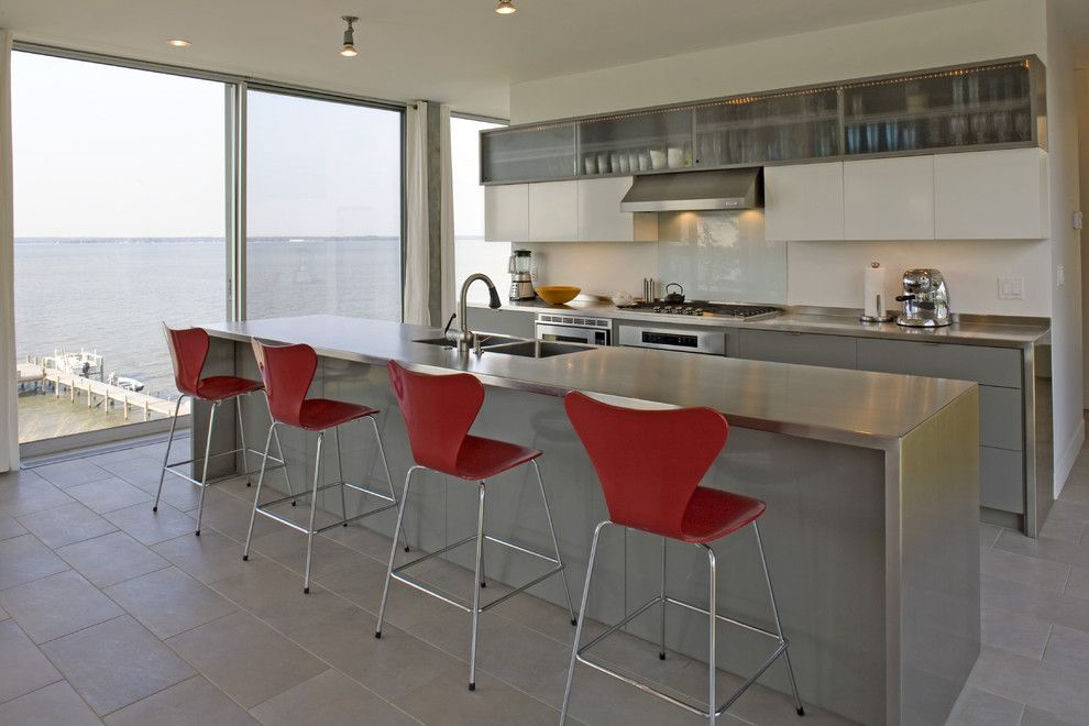How to Clean Stainless Steel Refrigerator for a Modern Kitchen with a Tile Flooring and River House   Kitchen by Ziger/snead Architects