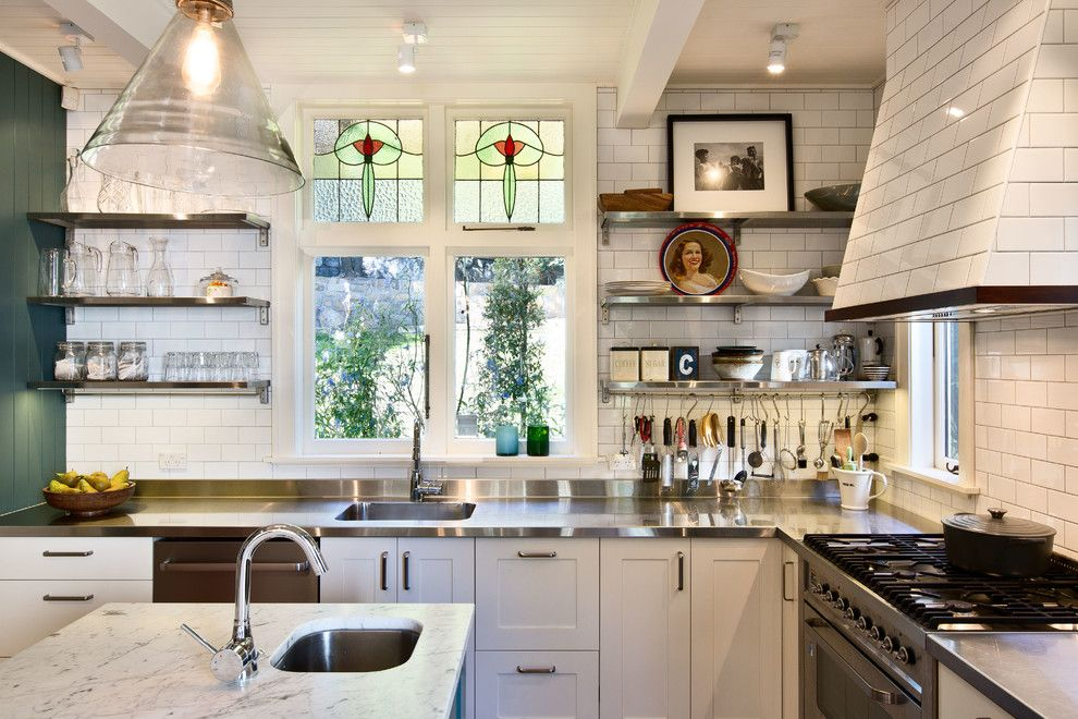 How to Clean Stainless Steel Refrigerator for a Victorian Kitchen with a Utensil Rack and Wellington Kitchen by Andrew Cox