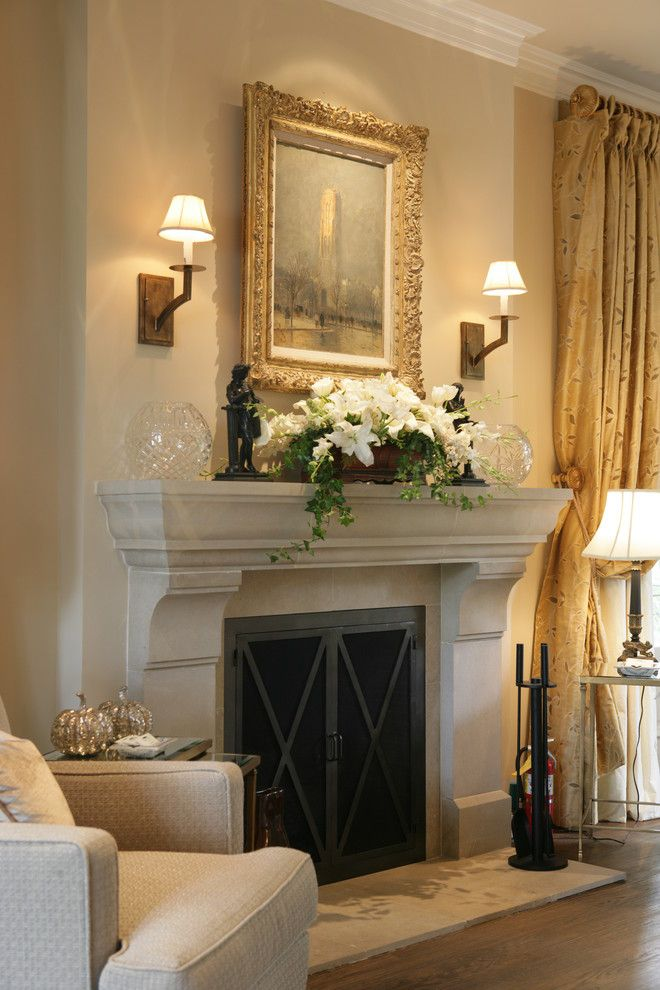 How to Decorate a Fireplace Mantel for a Traditional Bedroom with a Drapes and Reaume Construction & Design by Reaume Construction & Design
