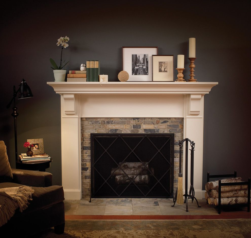 How to Decorate a Fireplace Mantel for a Traditional Family Room with a Fireplace Mantel Dcor and Timeless Appeal by Dura Supreme Cabinetry