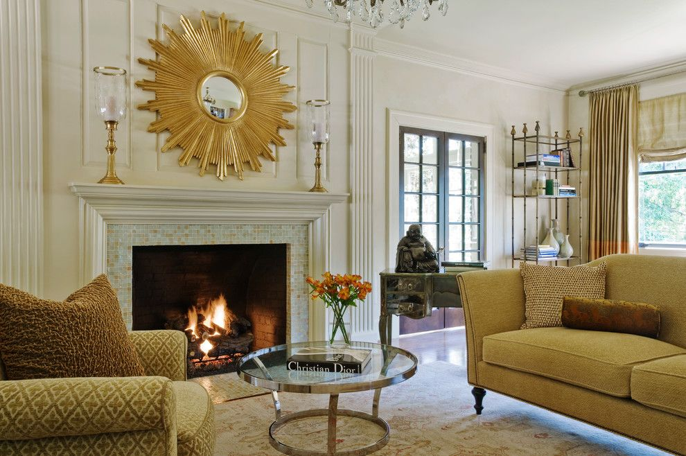 How to Decorate a Fireplace Mantel for a Traditional Living Room with a Chandelier and Masters Residence by Panageries