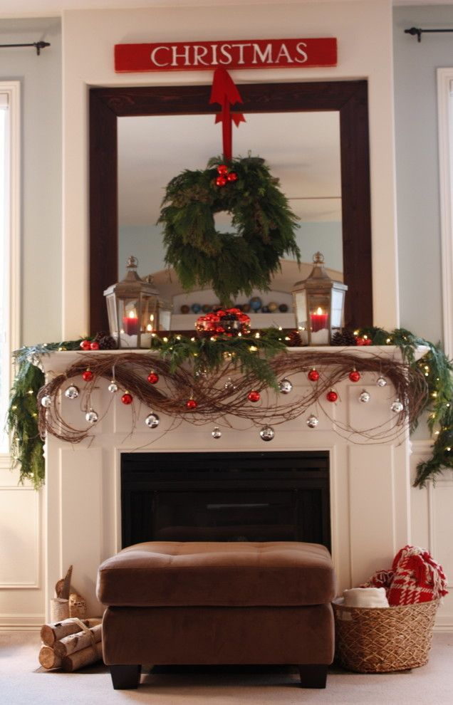 How to Decorate a Fireplace Mantel for a Traditional Living Room with a Christmas Decorations and Our Living Room Mantel   Christmas 2010... by It's the Little Things...