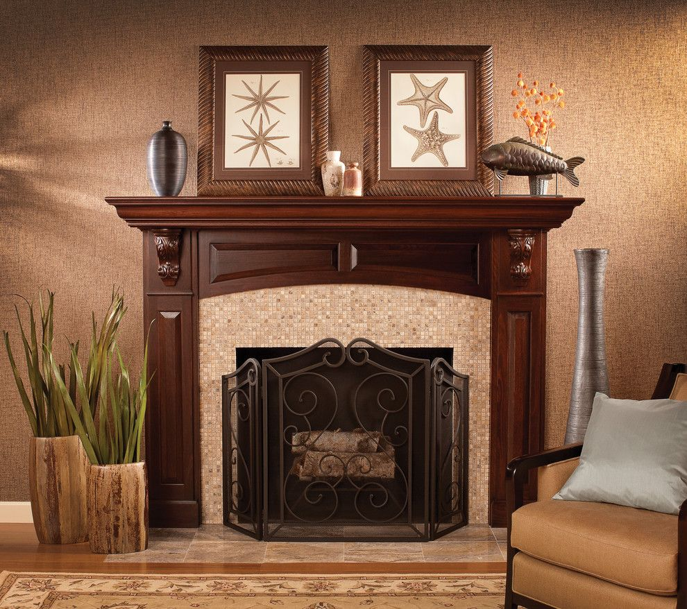 How to Decorate a Fireplace Mantel for a Traditional Living Room with a Tools and a Stunning Focal Point by Dura Supreme Cabinetry