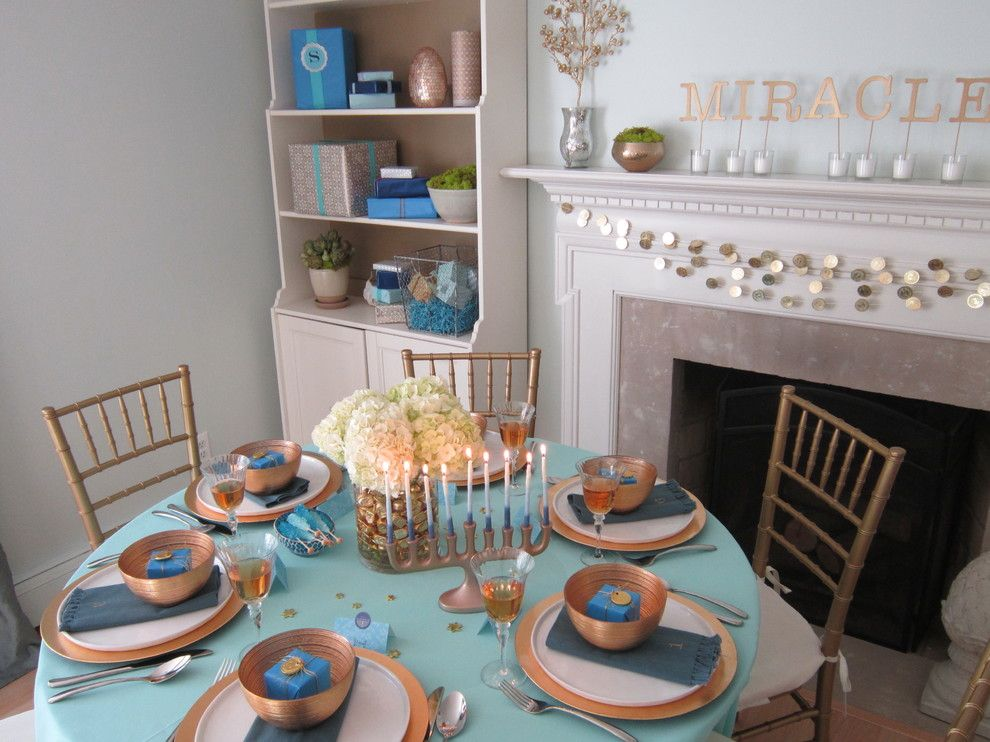 How to Decorate a Fireplace Mantel for a Transitional Dining Room with a Hanukkah Menorah and Home for Chanukah by Rita From Design Megillah