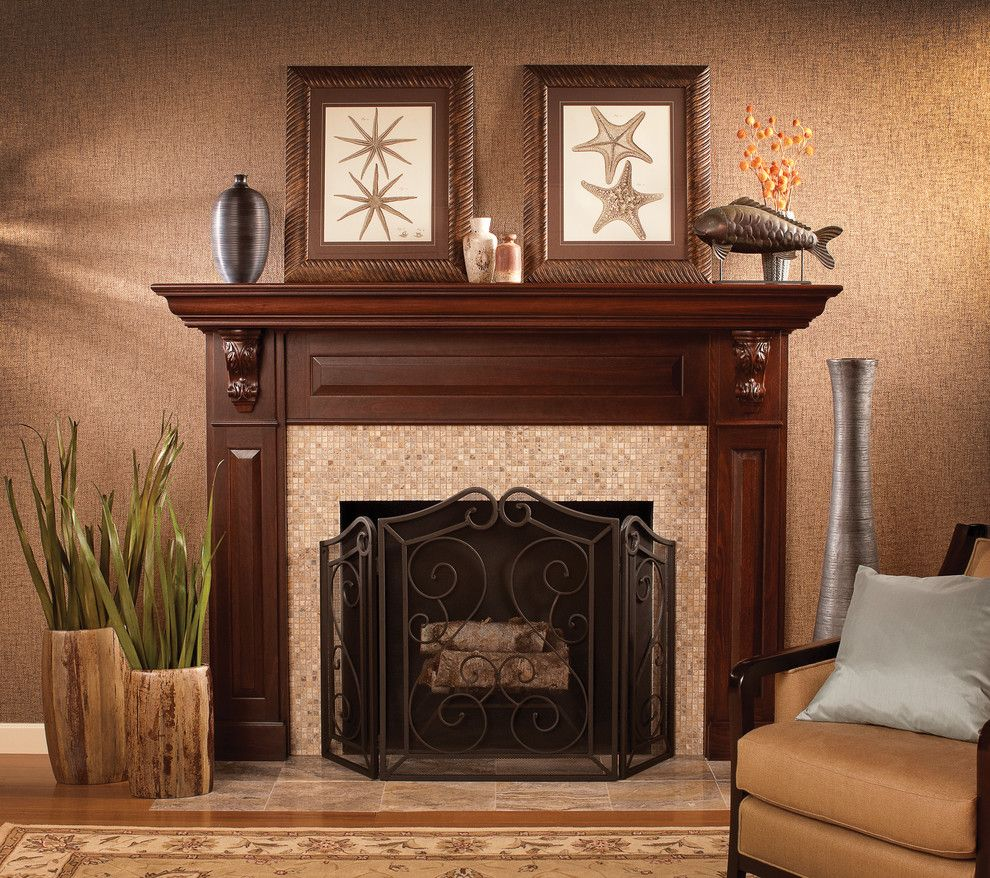 How to Decorate a Mantel for a Traditional Living Room with a Family Room Fireplaces and a Stunning Focal Point by Dura Supreme Cabinetry