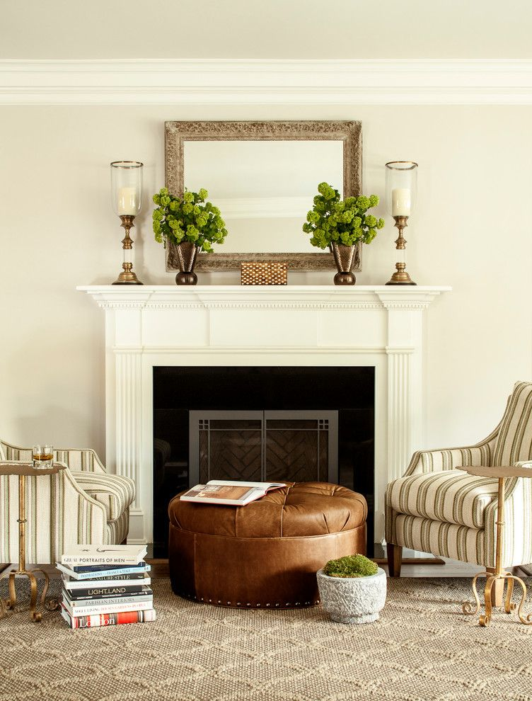 How To Decorate A Mantel For Traditional Living Room With Tufted Ottoman And Beechwood
