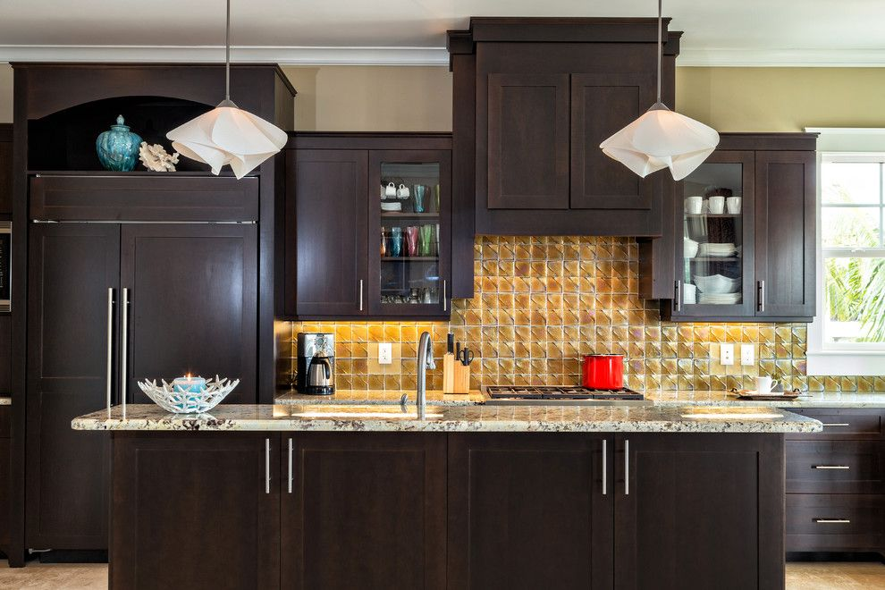 How to Dispose of Light Bulbs for a Transitional Kitchen with a Island Lighting and Kitchen Design by Caron Kelly Interiors