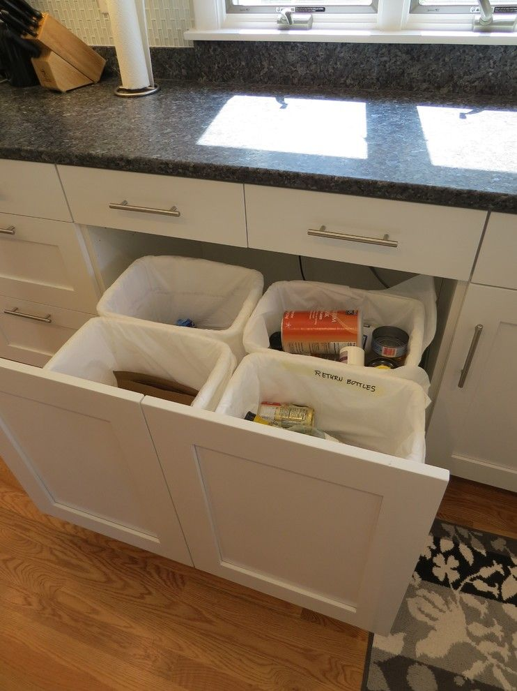 How to Fix a Garbage Disposal for a Beach Style Kitchen with a Glass Tile and Boothbay Harbor   Kitchen Remodel by Robin Amorello, Ckd Caps   Atmoscaper Design