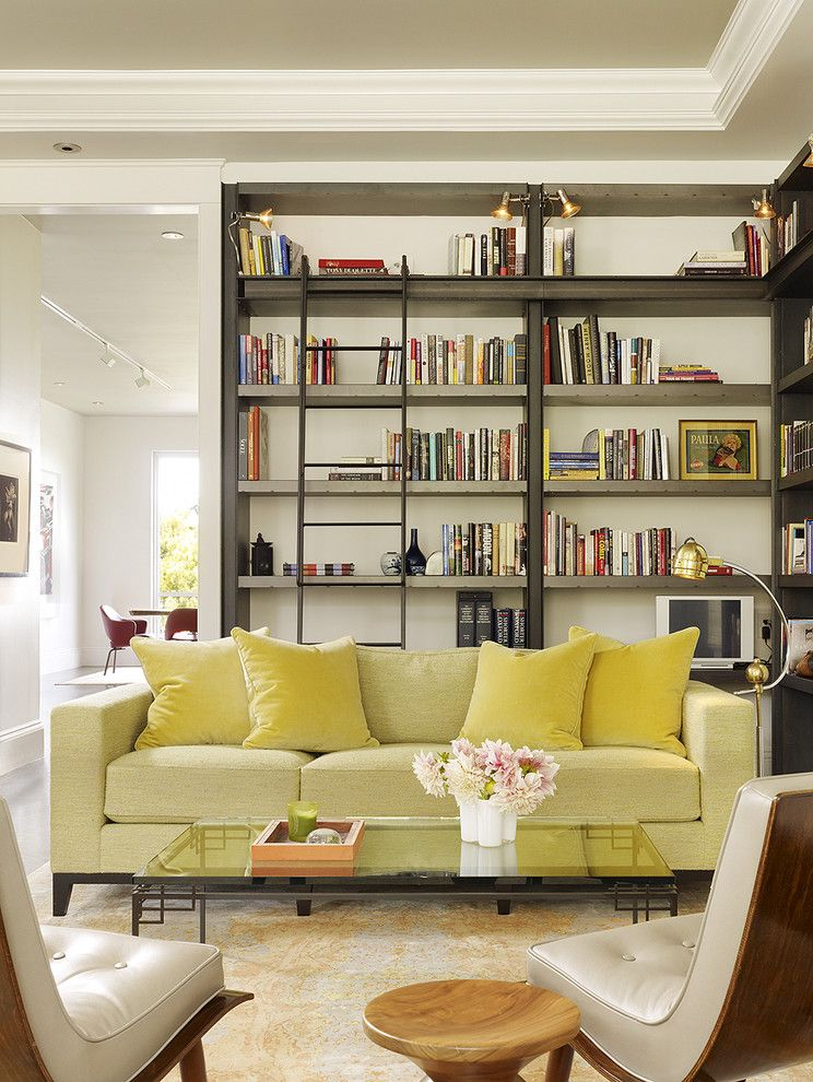 How to Get Rid of Mosquitos for a Transitional Living Room with a Wraparound Shelves and Living Room / Library by Chloe Warner