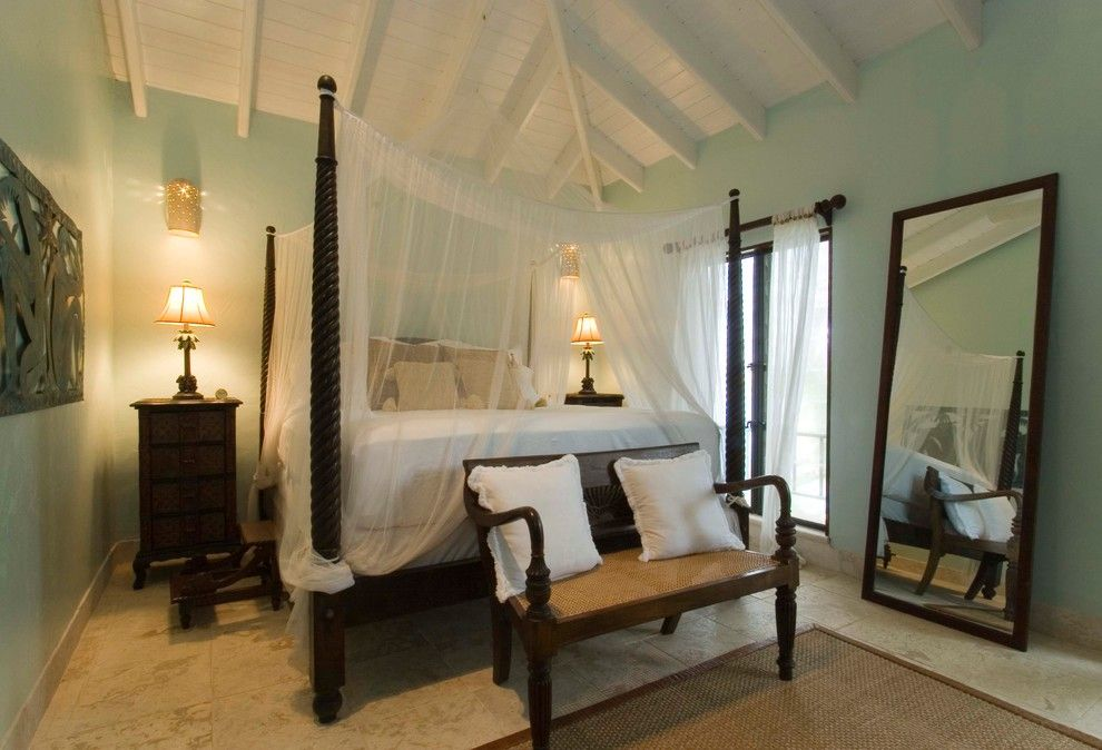 How to Get Rid of Mosquitos for a Tropical Bedroom with a Bed Curtains and British Virgin Islands by Timothy R. Rhode, Inc.