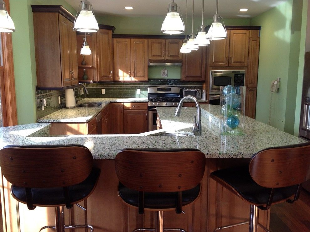 How to Glaze Cabinets for a Eclectic Kitchen with a Recycled Glass and Vetrazzo Island by Avalon Kitchen