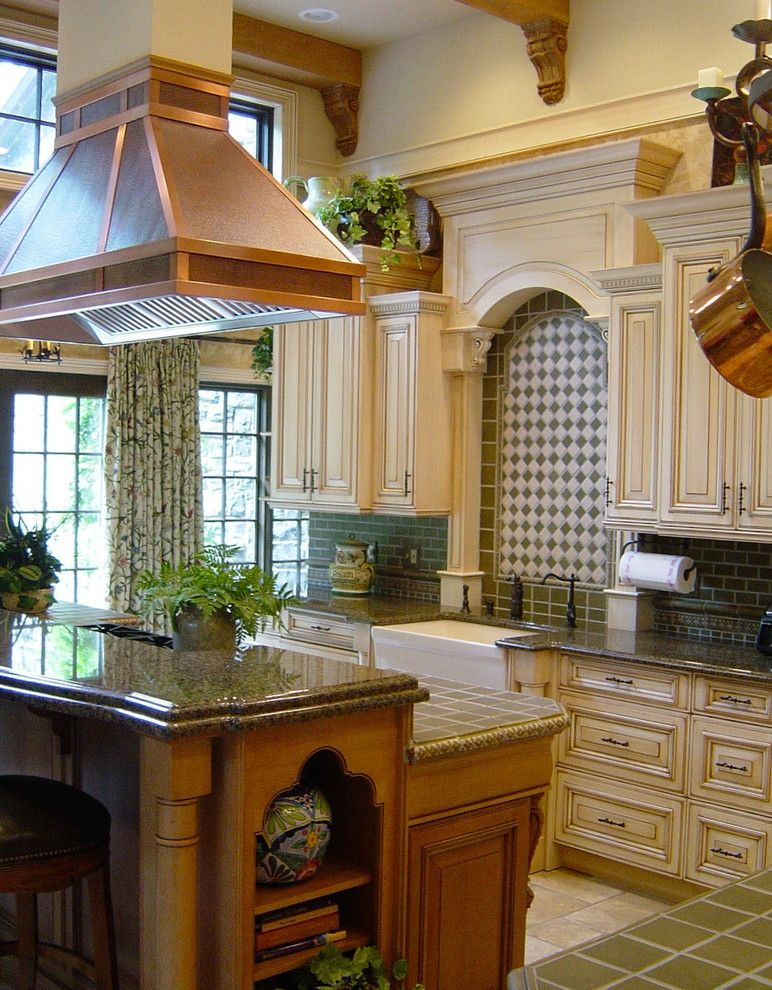 How to Glaze Cabinets for a Traditional Kitchen with a Beam Ceiling and Traditional Kitchen by Miniongutierrez.com