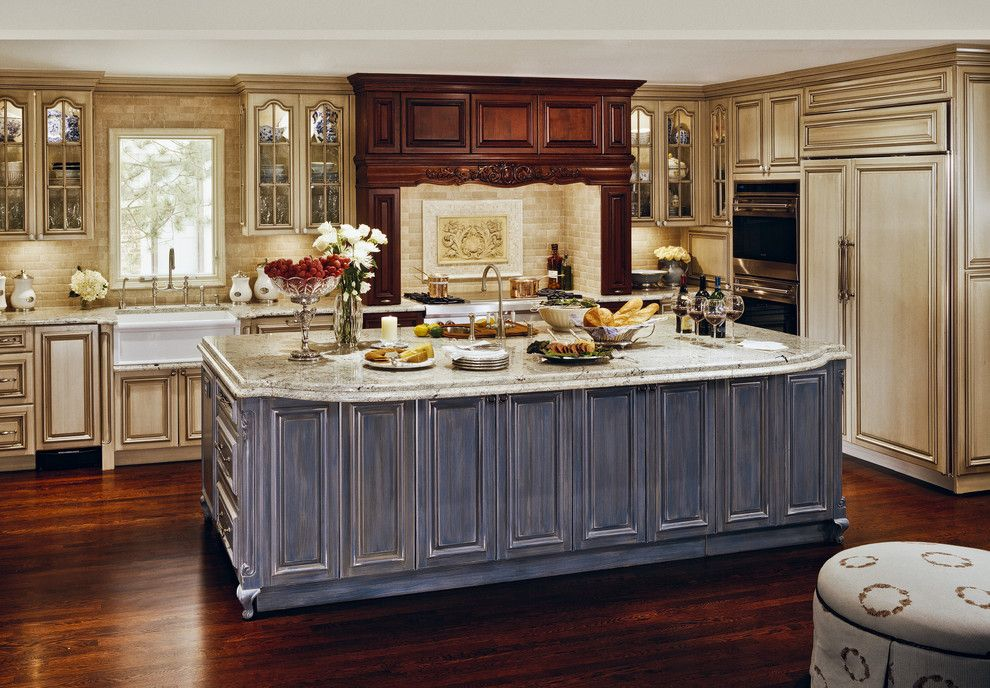 How to Glaze Cabinets for a Traditional Kitchen with a Granit Countertops and Kitchen by Millennium Cabinetry