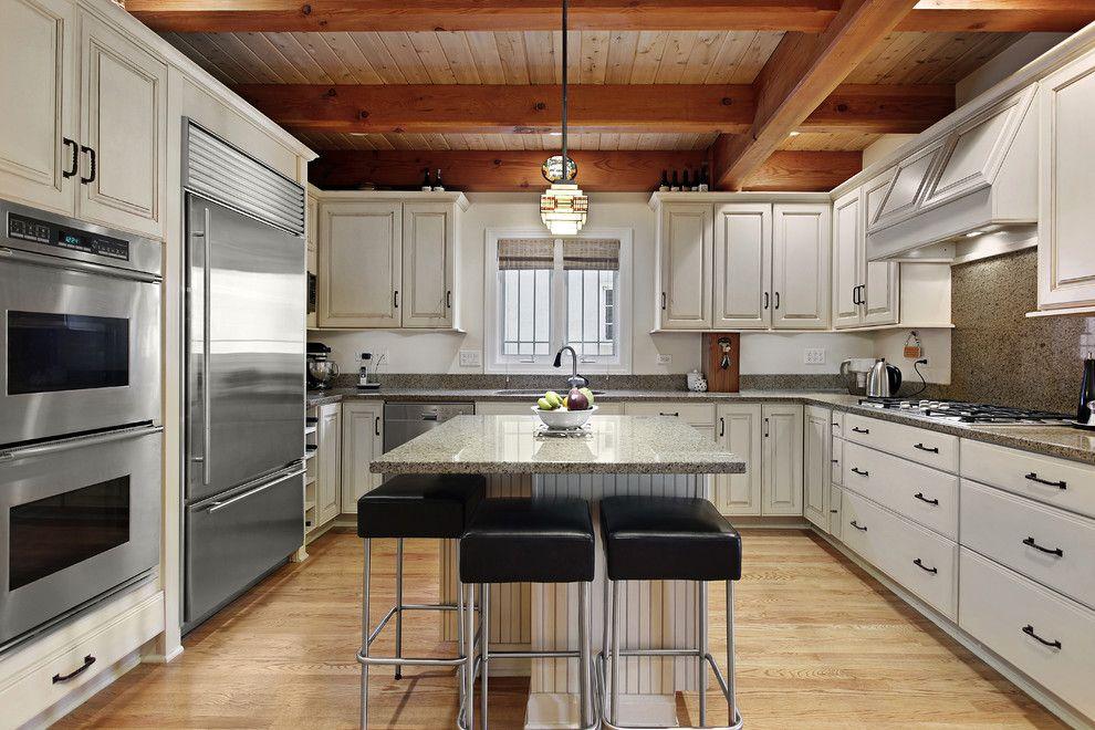 How to Glaze Cabinets for a Traditional Kitchen with a Kitchen Island and Traditional Kitchen by Cliqstudios.com