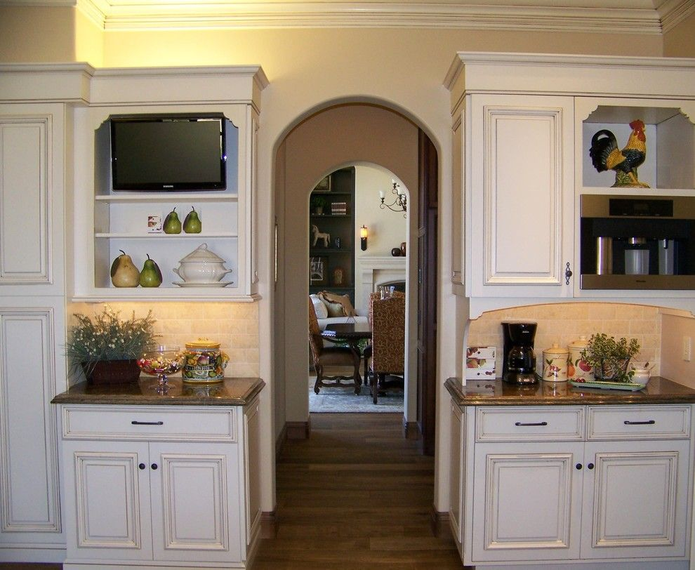 How to Glaze Cabinets for a Traditional Kitchen with a Wood Flooring and View Towards Dining Room by Design Moe Kitchen & Bath / Heather Moe Designer