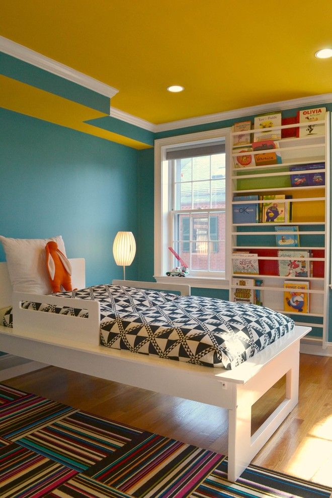 How to Grow Sunflowers for a Contemporary Kids with a Yellow Ceiling and Bay Village Residence by Colortheory Boston