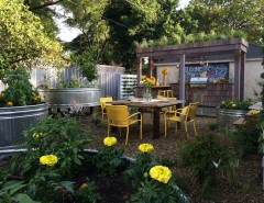 How to Grow Sunflowers for a Shabby-Chic Style Patio with a Wood Shingles and Urban Farm Backyard by Jake Moss Designs