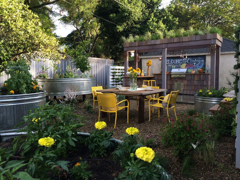 How to Grow Sunflowers for a Shabby Chic Style Patio with a Wood Shingles and Urban Farm Backyard by Jake Moss Designs
