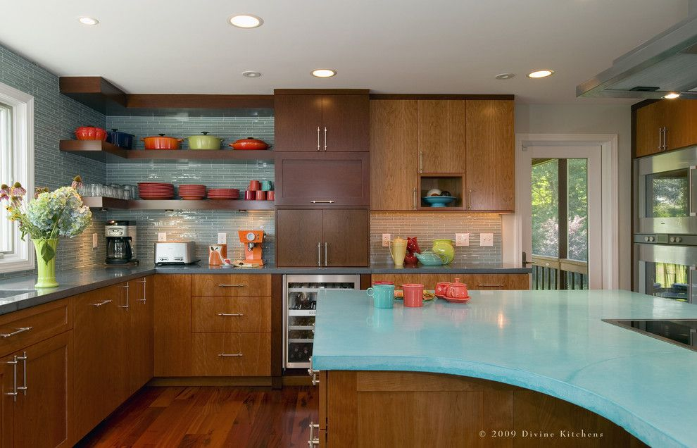 How to Install Backsplash for a Contemporary Kitchen with a Solid Surface Countertops and Divine Kitchens Llc by Divine Design+Build