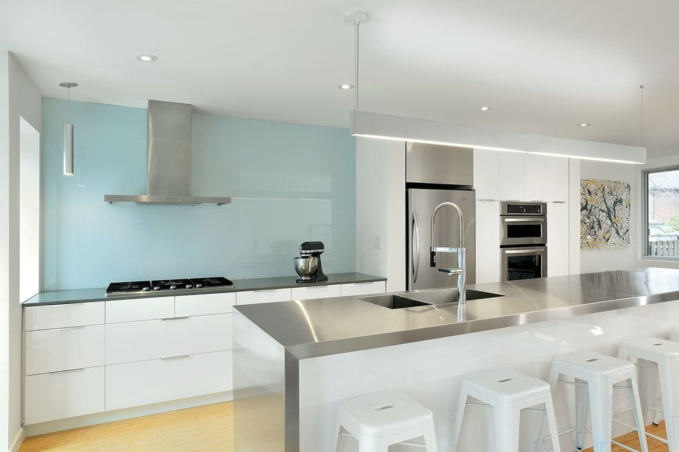 How to Install Backsplash for a Contemporary Kitchen with a White and Blue and Deloraine by Linebox Studio