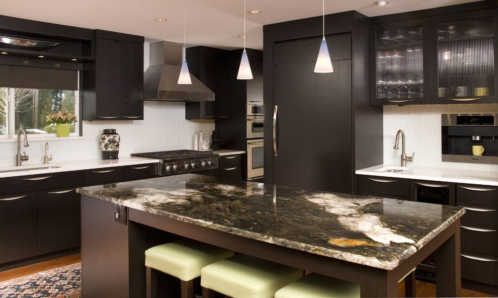 How to Install Granite Countertops for a Contemporary Kitchen with a Panel Refrigerator and Bellevue Contemporary Kitchen by Nw Home Designers