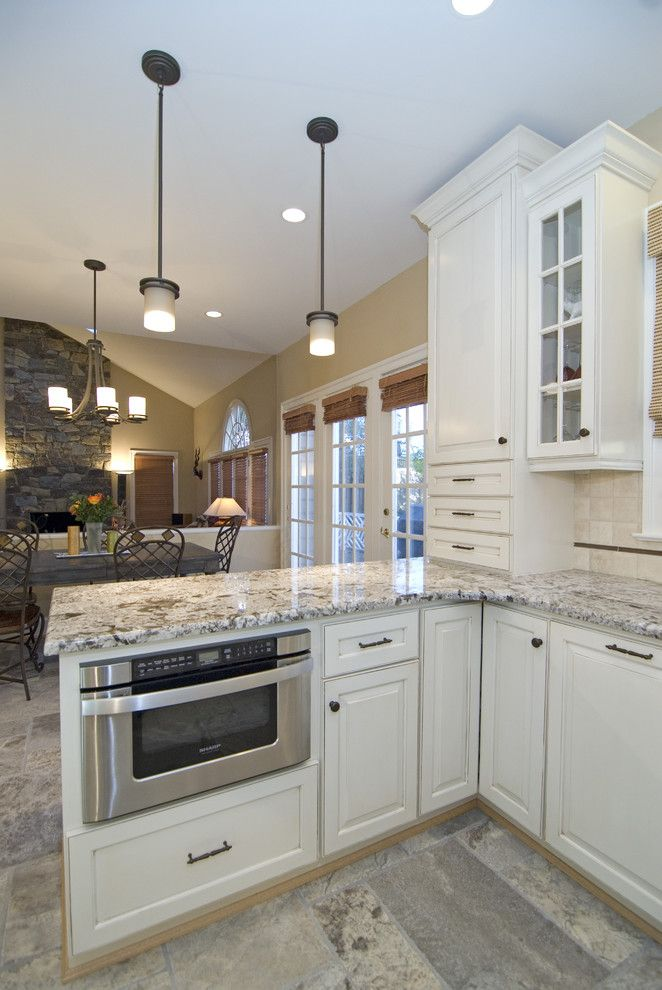 How to Install Granite Countertops for a Traditional Kitchen with a Pendant Lighting and Case Design/remodeling, Inc. by Case Design/remodeling, Inc.