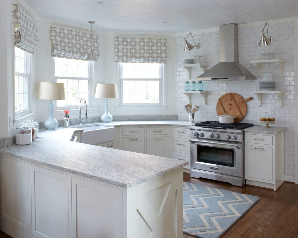 How to Install Granite Countertops for a Transitional Kitchen with a Blue Chevron Rug and Urban Farmhouse Kitchen by Lisa Gabrielson Design