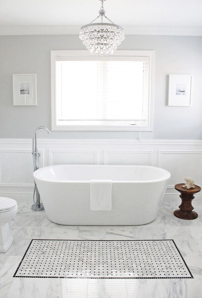 How to Install Wainscoting for a Contemporary Bathroom with a Bathroom Chandelier and Master Bathroom by Am Dolce Vita