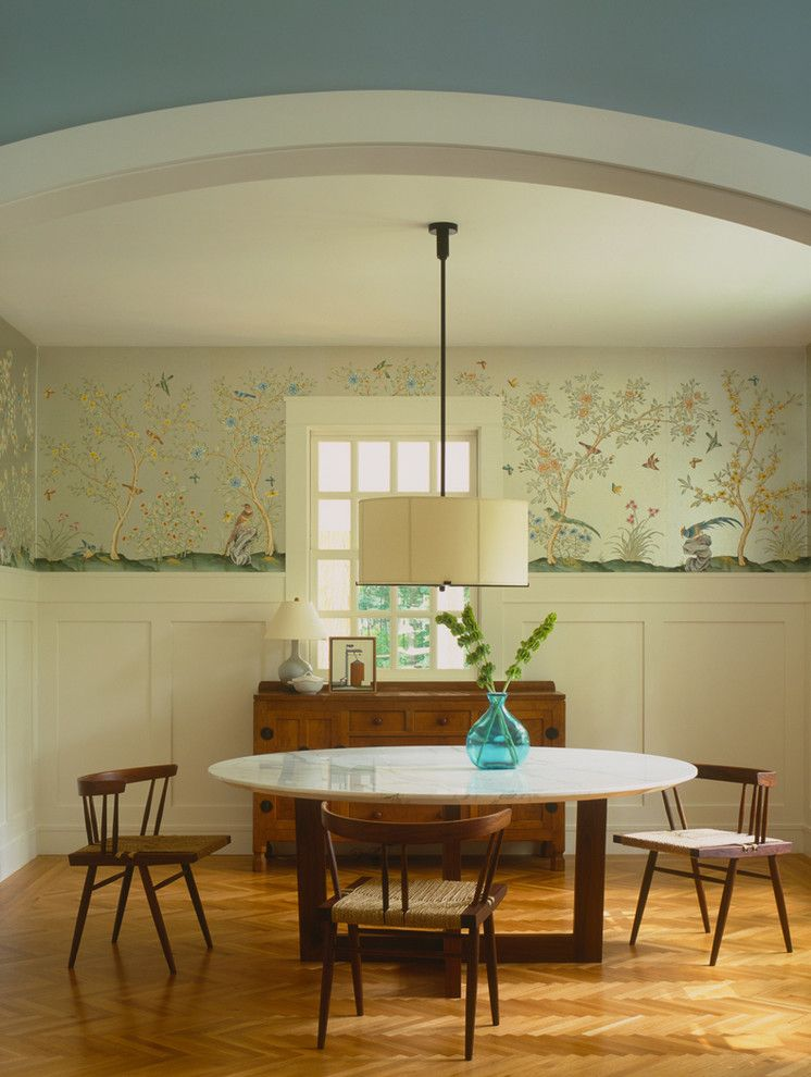 How to Install Wainscoting for a Contemporary Dining Room with a Round Dining Table and Lake Michigan House by Dufner Heighes Inc
