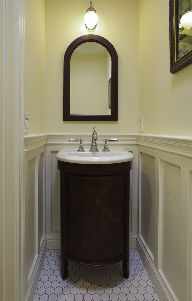 How to Install Wainscoting for a Craftsman Powder Room with a Wainscoting and a Powder Room by Mahoney Architects & Interiors