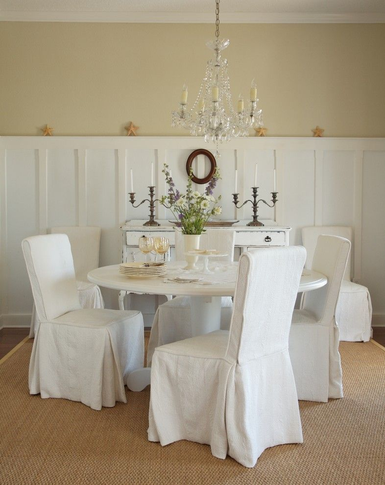 How to Install Wainscoting for a Shabby Chic Style Dining Room with a Tall Wainscoting and Coastal Living Residence by Tweak Your Space