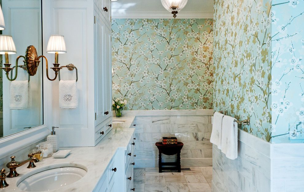 How to Install Wainscoting for a Traditional Bathroom with a Mirror and Award Winning Master Bath by Leland Interiors, Llc