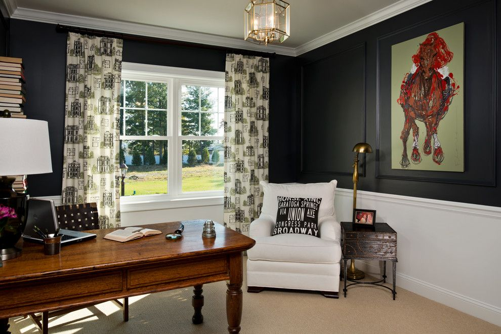 How to Install Wainscoting for a Traditional Home Office with a Contemporary Art and 2013 Showcase of Homes by Belmonte Builders