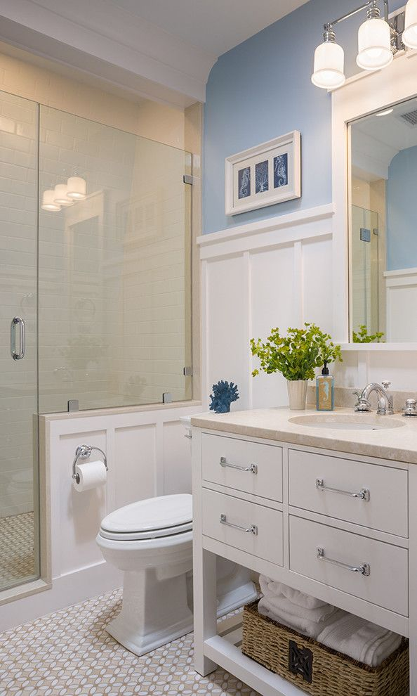 How to Install Wainscoting for a Victorian Bathroom with a Towel Storage and Coastal Victorian Renovation by Ronald F. Dimauro Architects, Inc.