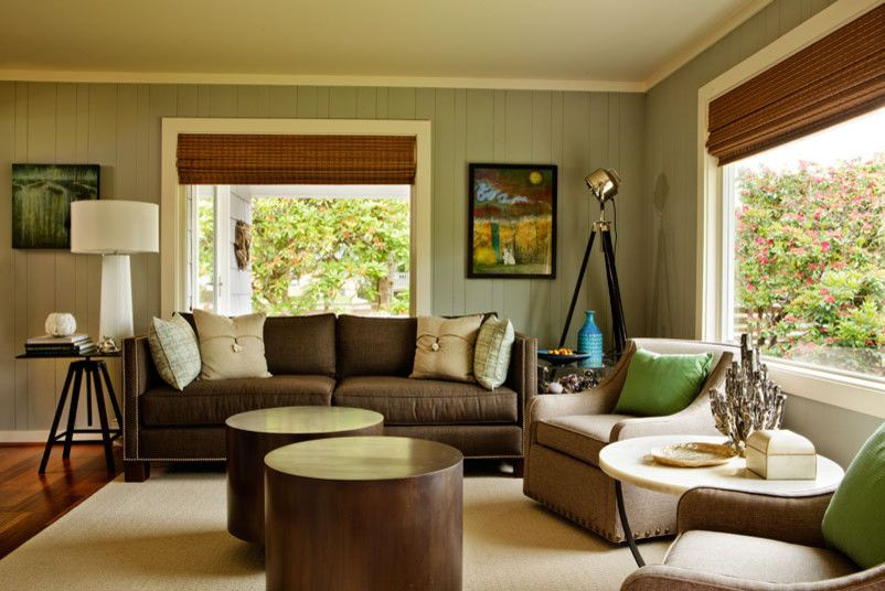 How to Paint Wood Paneling for a Beach Style Living Room with a Bamboo Floors and Casual Luxe Beach House by Garrison Hullinger Interior Design Inc.