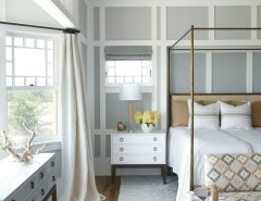 How to Paint Wood Paneling for a Contemporary Bedroom with a Gray Walls and Benjamin Moore by Benjamin Moore