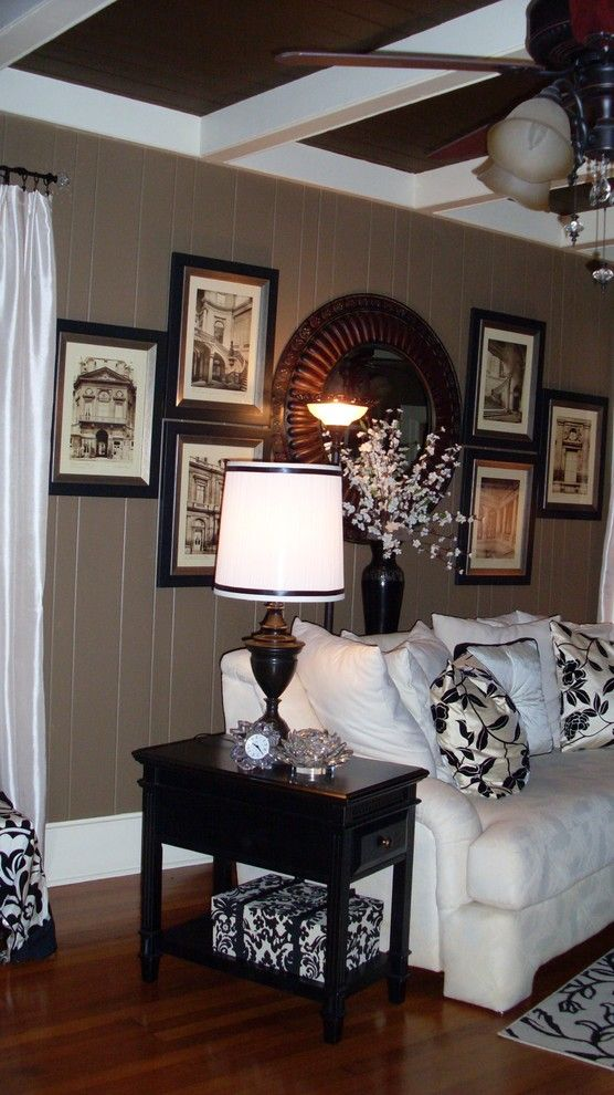 How to Paint Wood Paneling for a Eclectic Living Room with a Dramatic and Ral by Interiors with Attitude, Llc