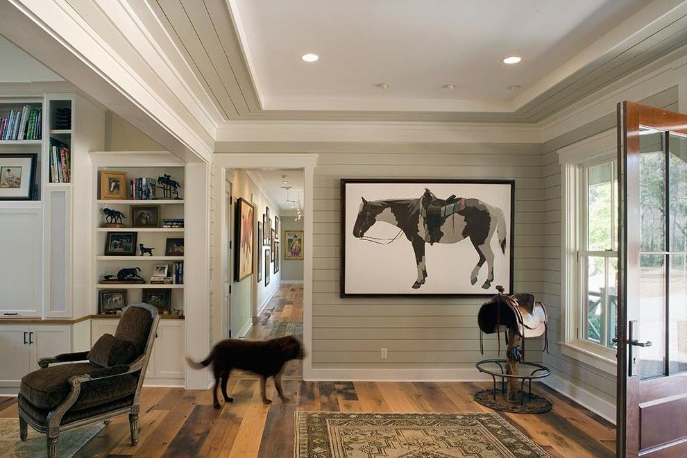 How to Paint Wood Paneling for a Rustic Entry with a Saddle and Lowcountry Residence by Wayne Windham Architect, P.a.