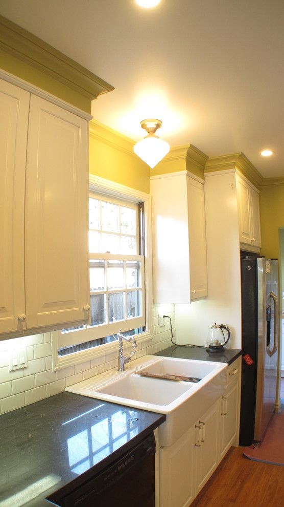 How to Patch Drywall for a Craftsman Kitchen with a Subway Tile and Bungalow Kitchen by the Alexander Building Co.