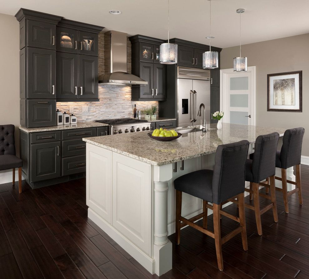 How to Repaint Kitchen Cabinets for a Transitional Kitchen with a Island Lighting and Ksi Designer, Jim Mcveigh by Ksi Kitchen & Bath