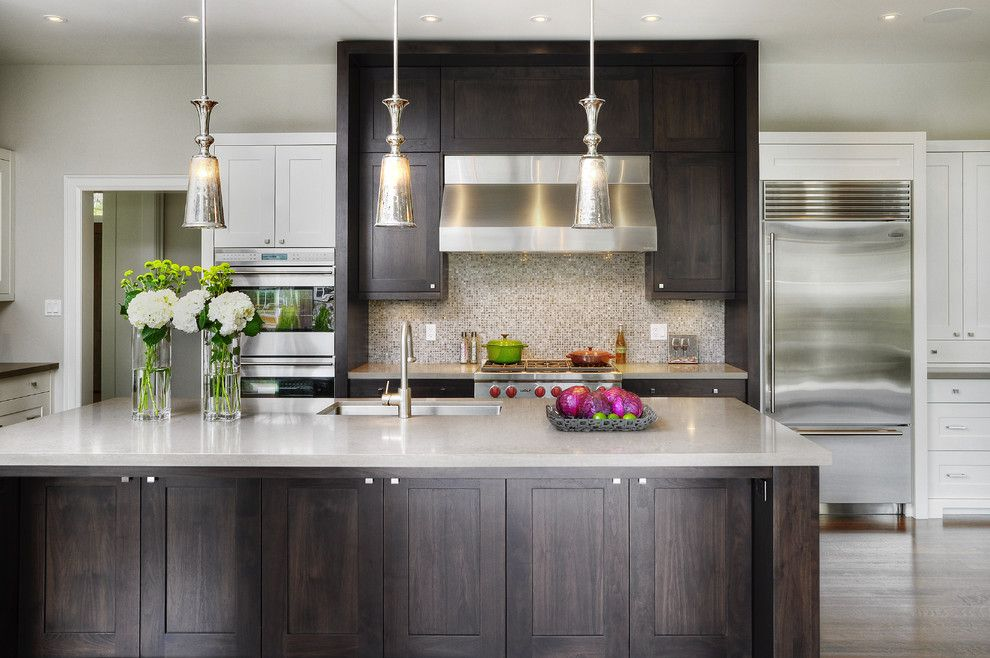 How to Repaint Kitchen Cabinets for a Transitional Kitchen with a Pendant Lighting and Sleek Home in Oakville (1206) by Braam's Custom Cabinets