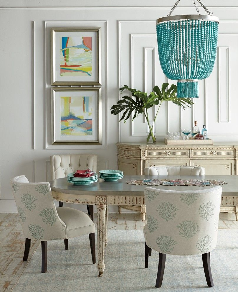 How to Reupholster a Chair Seat for a Contemporary Dining Room with a Beaded Chandelier and Horchow by Horchow