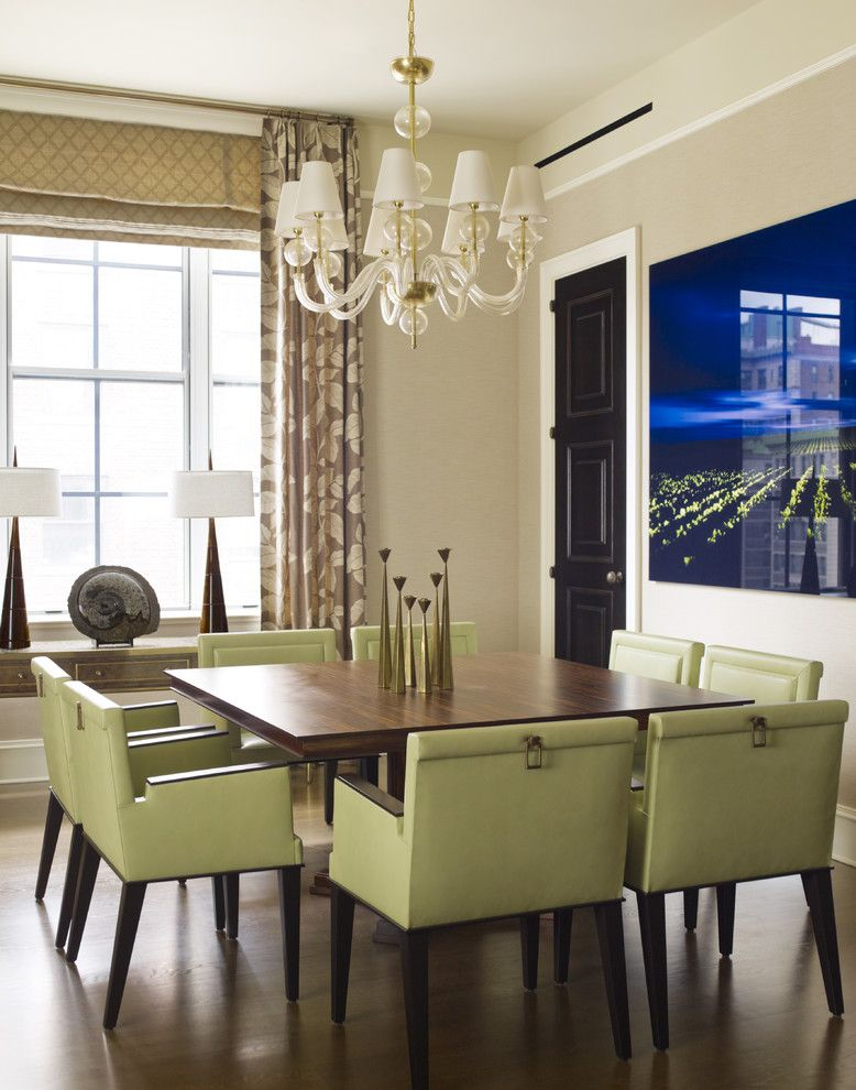 How to Reupholster a Chair Seat for a Contemporary Dining Room with a Windows Treatment and Uws3 by Mendelson Group