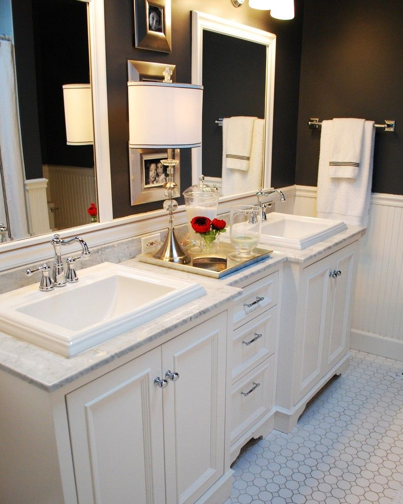 How to Seal Grout for a Traditional Bathroom with a Black Wall and Traditional Bathroom by Judith Balis Interiors