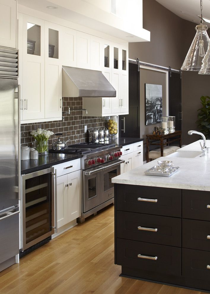 How to Seal Grout for a Transitional Kitchen with a Dark Countertop and Mill Valley, CA by Urrutia Design