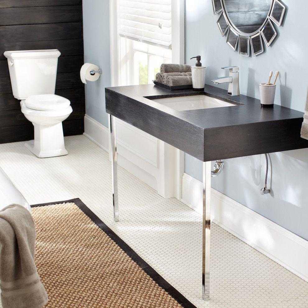 How to Stain Concrete Floors for a Contemporary Bathroom with a Undermount Sink and Danze by Danze Inc