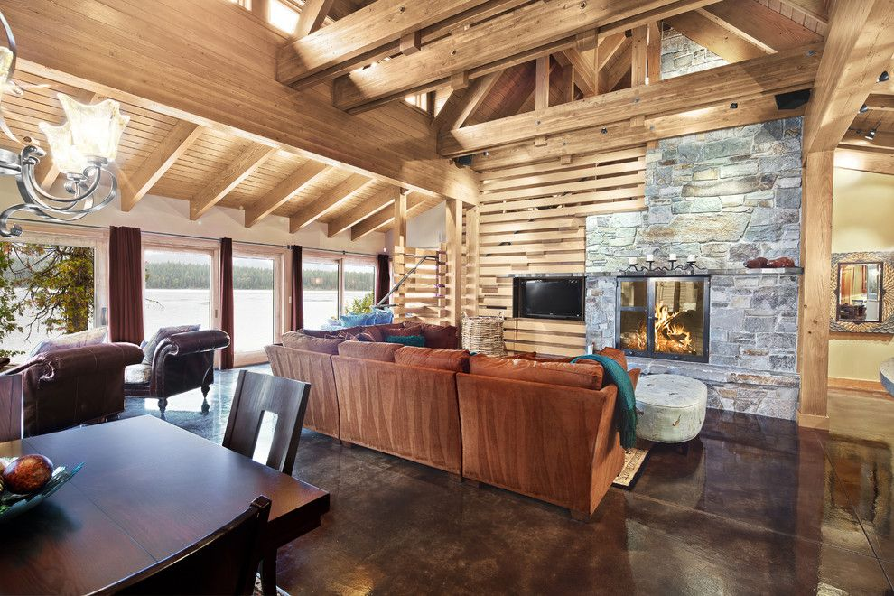 How to Stain Concrete Floors for a Contemporary Family Room with a Ideas and Concrete Floored Abode   a Cabin on Lake Wenatchee by Gelotte Hommas Architecture